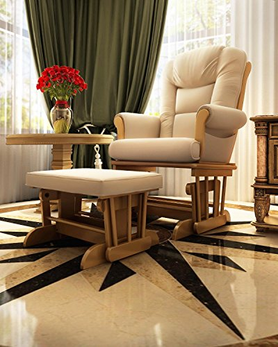 Naomi Home Deluxe Multiposition Sleigh Glider and Ottoman Set Pecan/Sand