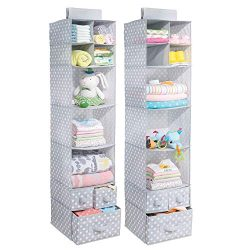 mDesign Soft Fabric Over Closet Rod Hanging Storage Organizer with 7 Shelves and 3 Removable Dra ...