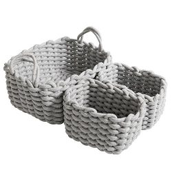 CutieUnion Cotton Woven Storage Baskets with Dual Rope Handles for Toy Storage Durable Nursery B ...