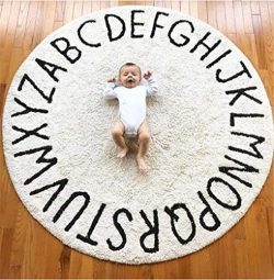 FasterS ABC Baby Rug for Nursery Kids Round Educational Alphabet Warm Soft Large Activity Mat Fl ...