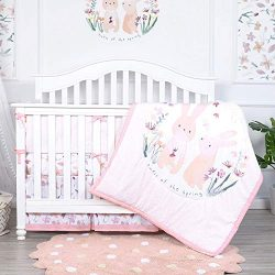 TILLYOU Luxury 5 Pieces Floral Crib Bedding Set (Crib Bumper, Quilt, 2pcs Crib Sheets, Crib Skir ...