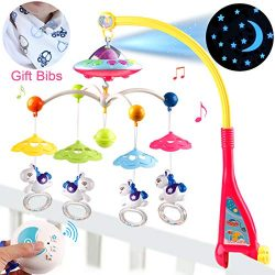 BOBXIN Baby Musical Crib Mobile with Projector, Light and 108 Melodies Music Box, Remote Control ...