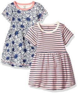 Touched by Nature Baby Girls' Organic Cotton Dress, 2 Pack, Daisy Short Sleeve, 3-6 Months ...