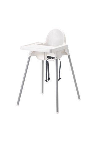 Ikea's ANTILOP Highchair with safety belt, white, silver color and ANTILOP Highchair tray, ...