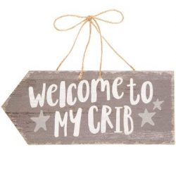 Scout & Company Welcome to My Crib Rustic Wood Wall Decor Hanging Sign | Farmhouse Decoratio ...