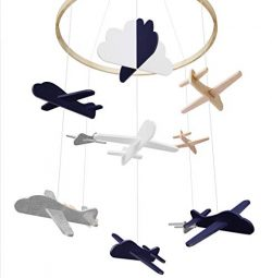 Baby Crib Mobile by Giftsfarm, Airplane & Cloud Baby Mobile, Crib Mobile for Boys Nursery Dé ...
