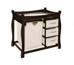 Badger Basket Sleigh Style Changing Table with Hamper/3 Baskets, Espresso