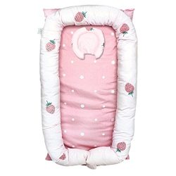 Abreeze Baby Bassinet for Bed -Strawberry Baby Lounger – Breathable & Hypoallergenic C ...