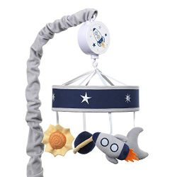 Lambs & Ivy Milky Way Musical Baby Crib Mobile – Blue/Navy/Gray Space Theme