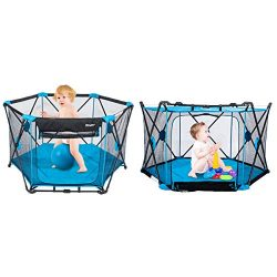 53″ x 29″ Play Portable Playard for Infants and Babies, 6-Panel Washable Mesh Plaype ...