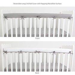 CaSaJa Soft Reversible Microfiber Crib Rail Cover for Front(Long) Rail, Safe Breathable Batting  ...