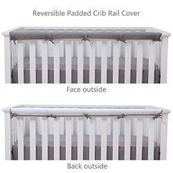 Belsden Soft Reversible Long Crib Rail Cover Made of Brushed Microfiber Fabric, Baby Teething Gu ...