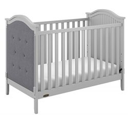 Graco Linden Tufted 3-in-1 Convertible Crib, Gray Easily Converts to Toddler Bed & Day Bed,  ...