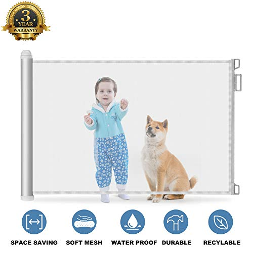 Baby Safety Gate Retractable – Extra Wide Mesh Child Gate and Dog Pet Gate for Stairs/Door ...