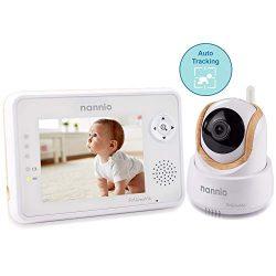Nannio FollowMe 3.5″ Baby Monitor Auto Motion Tracking Camera, Pan Tilt Zoom, Infrared Nig ...