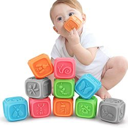 TUMAMA Baby Blocks,Soft Baby Building Blocks for Toddlers,Teething Chewing Toys Educational Baby ...