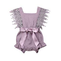 Newborn Infant Baby Girl Clothes Lace Halter Backless Jumpsuit Romper Bodysuit Sunsuit Outfits S ...