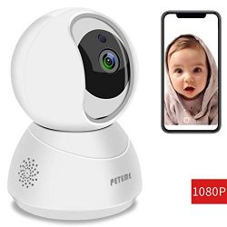 Peteme Baby Monitor 1080P FHD Home WiFi Security Camera Sound/Motion Detection with Night Vision ...
