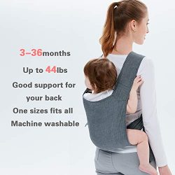 4-tie Baby Carrier Lightweight and Comfortable Backpack Style Sling for Babies 3 Months and Olde ...