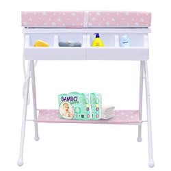 HONEY JOY Baby Changing Table, Folding Diaper Station Nursery Organizer for Infant (Pink)