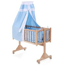 Pine Wood Baby Crib Child Cradle Nursery Side Bed Toddler Daybed Furniture w/Canopy, Blue