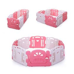JAXPETY Pink Baby Playpen Kids Playpen Baby Play Yards Fence 8 Panel Activity Centre Safety Play ...