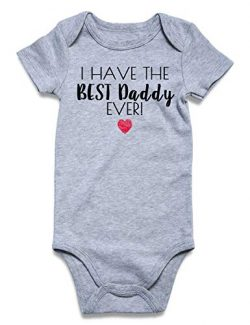 Fathers Day Newborn Baby Boy Girls Bodysuit I Have The Best Daddy Ever Cute Novelty Baby Saying  ...
