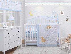 OptimaBaby Sweet Dream Moon & Star Teddy Bear 6 Piece Baby Nursery Crib Bedding Set