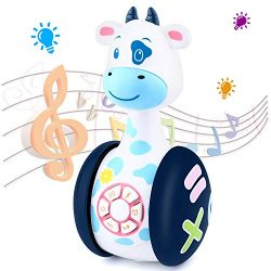 Tinabless Baby Musical Toys, Cow Baby Tumbler Toy with Music and LED Light Up for Infants, Toddl ...