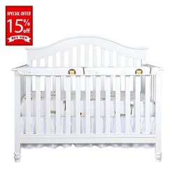 Designthology (U.S.) 1-Pack Padded Baby Crib Rail Cover Protector, Long Front Crib Rails, 100% C ...