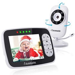 Video Baby Monitor with Camera and Audio, Anmade 3.5″ Color Screen 960 feet with Night Vis ...