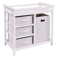LHONE Infant Baby Changing Table with 3 Baskets Hamper Diaper Storage Nursery Station (White)