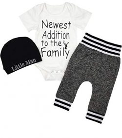 Newborn Baby Boy Clothes Newest Addition to The Family Letter Print Romper+Long Pants+Hat 3PCS O ...