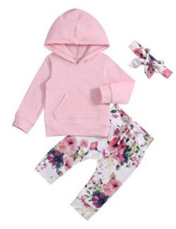 Baby Girl Clothes Long Sleeve Hoodie Sweatshirt Floral Pants with Headband Outfit Sets 6-12Months