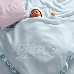 Personalized Baby Blankets (Blue), Large 36×36 Inch, Wide Satin Trim, 200 GSM Fleece