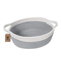 Goodpick Small Woven Basket | Cute Gray Rope Basket | Baby Cotton Basket | Nursery Room Storage  ...