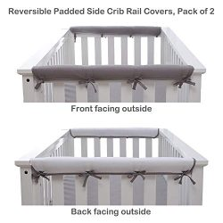 Belsden 2 Pack Soft Reversible Short Crib Rail Covers Made of Brushed Microfiber, Baby Teething  ...