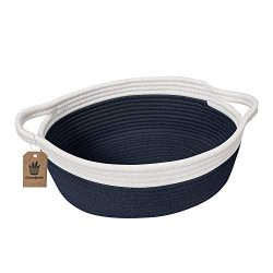 Goodpick Small Woven Basket | Cute Navy Blue Rope Basket | Baby Cotton Basket | Nursery Room Sto ...