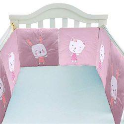 6 PCS Cotton Baby Crib Bumpers Breathable Padded Mesh Crib Bumper Pad Cradle Bedding Bumper