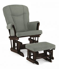 Lennox Stanton Transitional Style Glider Chair and Ottoman Combo, Espresso with Grey