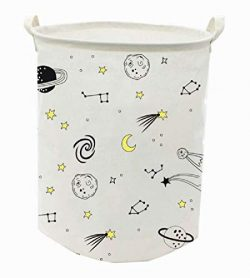 Runtoo 19.7″ Large Sized Laundry Hamper Waterproof Foldable Canvas Outer Space Theme Bucke ...