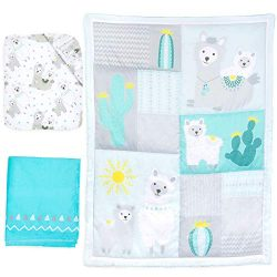 Baby Nursery Turquoise and Grey Crib Bedding Sets: La Premura Llama and Cacti 3 Piece Standard S ...