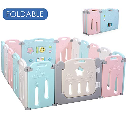 POTBY Foldable Baby Playpen Activity Center Safety Playard with Lock Door,Kid's Fence Indo ...