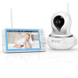 Acenz Video Baby Monitor with 5 Inches Display, 720P HD Resolution, Remote Pan & Tilt &  ...