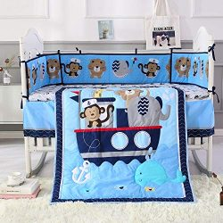 Wowelife Animal Baby Crib Sets Blue 7 Piece Monkey Elephant Lion and Giraffe Crib Bedding Sets C ...