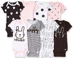 Gerber Baby Girls' 8-Pack Short-Sleeve Onesies Bodysuit, Bunny, Preemie