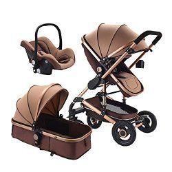 Baby Stroller 3 in 1 Foldable Baby Pram Portable Travel Pushchair Infant Basket car seat Strolle ...