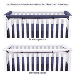 Belsden 3 Pieces Soft Microfiber Reversible Crib Rail Cover Set (1 Long Piece and 2 Short Pieces ...