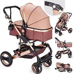 Happybuy 2 in 1 Portable Baby Stroller Anti-Shock Springs Foldable Luxury Baby Stroller Adjustab ...