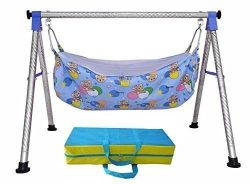 A to Z Hub Baby Cradle N Swing Ghodiyu with Indian Style Hammock Having Mosquito Net for New Bor ...